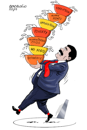 Cartoon: Maduro in trouble. (medium) by Cartoonarcadio tagged maduro,venezuela,crisis,latin,america