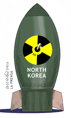 Cartoon: North Korean bomb. (medium) by Cartoonarcadio tagged bomb,north,korea,koreas,trump,usa,us,government,japan