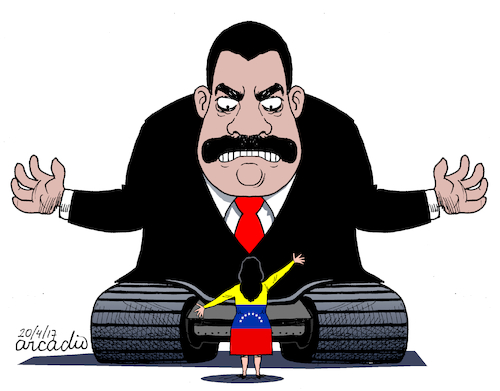 Cartoon: The revolution versus the venezu (medium) by Cartoonarcadio tagged maduro,venezuela,crisis,politicians,latin,america,the