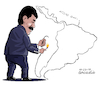Cartoon: Maduro burns Latin America (small) by Cartoonarcadio tagged venezuela,maduro,latin,america,riots,violence