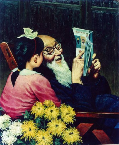 Cartoon: Grandpa (medium) by Lv Guo-hong tagged grandpa,granddaughter,speak,shi,flower