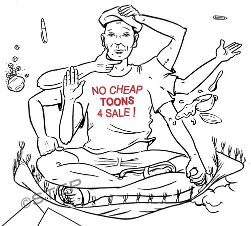 Cartoon: No cheap toons for sale (medium) by step tagged ramschbilder,ramsch,ausverkauf,schlussverkauf,cheaptoons,cheap