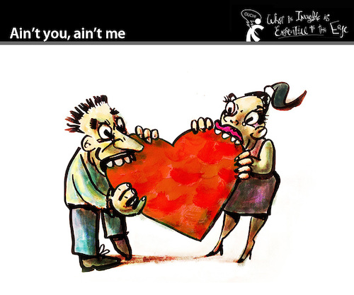 Cartoon: Aint you - Aint me (medium) by PETRE tagged love,couple,heart,stvalentine,valentine,aint