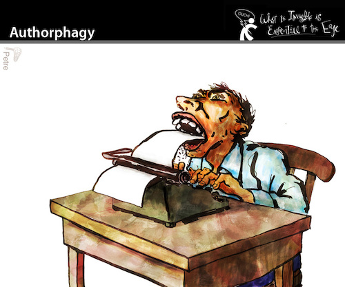 Cartoon: Authorphagy (medium) by PETRE tagged artwork,work,author,writer,creative