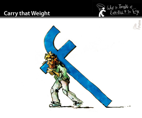 Cartoon: Carry that Weight (medium) by PETRE tagged cross,facebook,fans