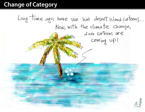 Cartoon: CHANGE OF CATEGORY (medium) by PETRE tagged global,warming,desert,island