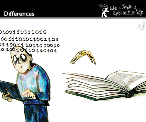 Cartoon: Differences (medium) by PETRE tagged books,pdf,readers,reading,sensation