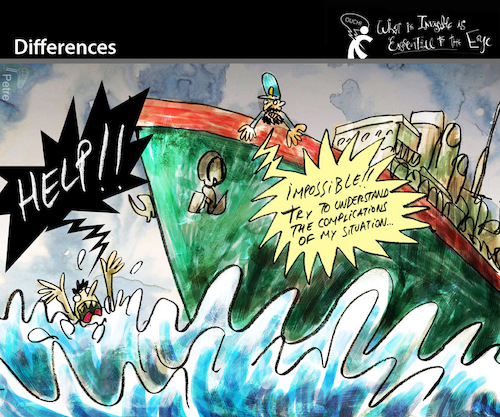 Cartoon: Differences (medium) by PETRE tagged selfishness,help,solidarity,shipwreck