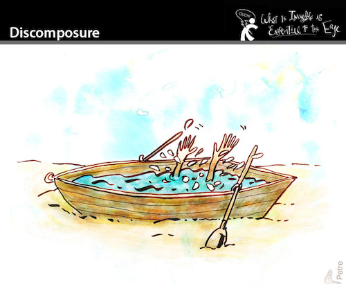 Cartoon: Discomposure (medium) by PETRE tagged disorganization,mess,drowned