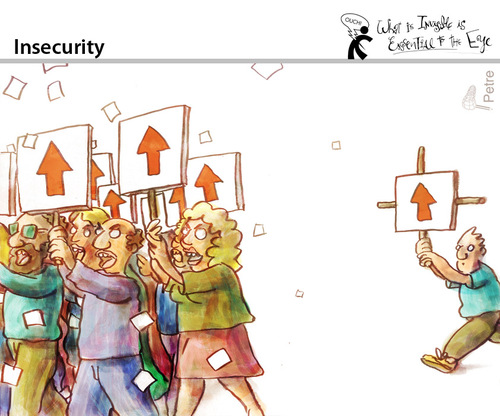 Cartoon: Insecurity (medium) by PETRE tagged manifestation,protest,demonstrator