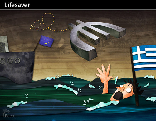 Cartoon: LIFESAVER (medium) by PETRE tagged greece,crisis,euro,germany,lifesaver
