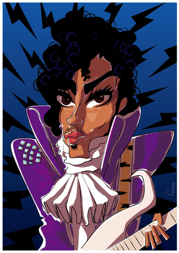 Cartoon: Prince (medium) by PETRE tagged prince,rock,star,eighties,guitarist,caricature