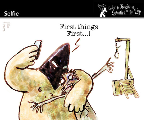 Cartoon: Selfie (medium) by PETRE tagged selfie,socialnets,executioner,rope,deathpenalty