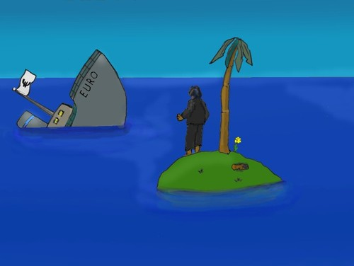 Cartoon: Euro (medium) by Hezz tagged desert,island,observations