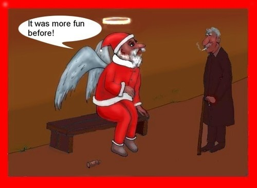 Cartoon: No fun (medium) by Hezz tagged bored,santa