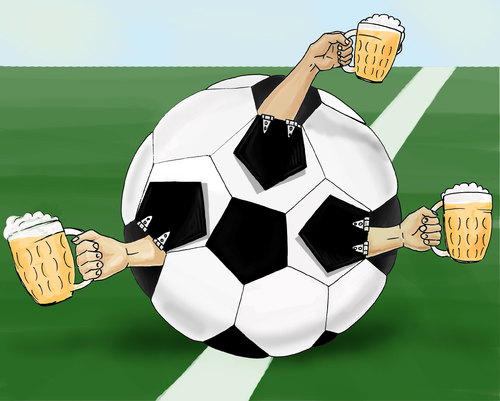 Cartoon: Team play (medium) by gartoon tagged soccer,goal,globe,cup,sphere,sport,cross,section,ball,residential,district,centre,center,corner,marking,leather,chalk,grass,animal,foot,angle,circle,green