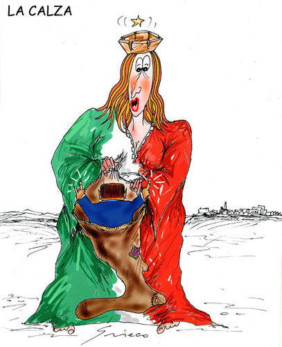 Cartoon: La Calza (medium) by Grieco tagged grieco,italia,befana,berlusconi,calza,regali