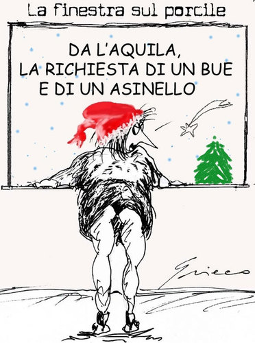 Cartoon: NATALE a l Aquila (medium) by Grieco tagged grieco,natale,terremotati