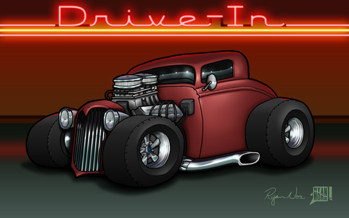 Cartoon: 34 Ford Coupe (medium) by RyanNore tagged digital,drawing,illustration,nore,ryan,photoshop,intuos,wacom,cartoon,ford,car