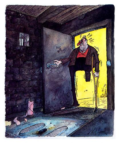 Cartoon: French Loo 1 (medium) by Nick Lyons tagged mann,man,satire,black,joke,toilette,cartoonist,lyons,nick,toilet,france,wc,loo,french