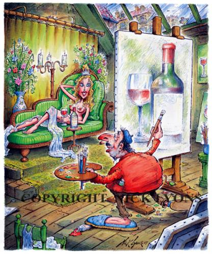 Cartoon: Wine Artist (medium) by Nick Lyons tagged lyons,nick,france,artist,cartoon,wine