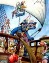 Cartoon: Pirate Long John Silver (small) by Nick Lyons tagged cartoonist,nick,lyons,pirate,ship,boat