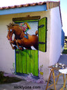 Cartoon: Wall Painting (small) by Nick Lyons tagged horse,france,nicklyons,cartoonist,animal,animals,sport,jumping