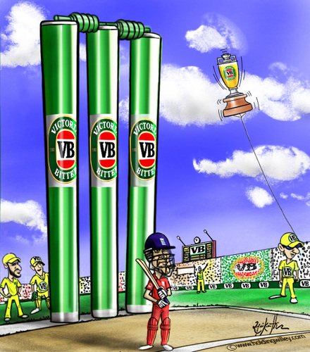 Cartoon: VB Victoria Bitter (medium) by crowpoint tagged vb,beer,series,cricket,ashes,aussie,australia,england,clarke,urn,oval