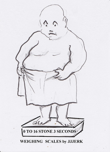 Cartoon: 0 to 16 stone in 3 seconds (medium) by jjjerk tagged fat,man,shiny,weighing,scales,cartoon,caricature,birthday