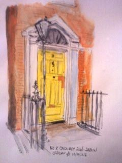 Cartoon: 8 Cavandish Row (medium) by jjjerk tagged yellow,door,cartoon,caricature,railings,lamp,red,brick,dublin,ireland