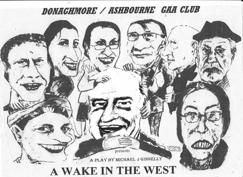 Cartoon: A Wake in the West (medium) by jjjerk tagged wake,in,the,west,michael,ginnelly,cartoon,caricature,play,irish,ireland