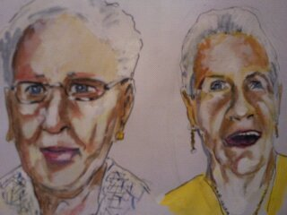 Cartoon: Barbara and Agnes (medium) by jjjerk tagged barbara,agnes,yellow,art,coolock,library,group,cartoon,caricature,artists,painters