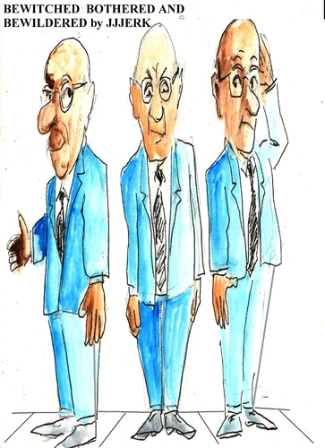 Cartoon: Bewitched bothered  bewildered (medium) by jjjerk tagged bewitched,bothered,and,bewioldered,blue,three,men,tie,glasses,cartoon,caricature