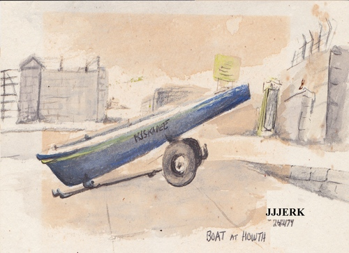 Cartoon: Boat at Howth Ireland (medium) by jjjerk tagged boat,ireland,kiskadee,cartoon,caricature,howth,shipping