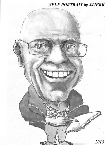 Cartoon: jjjerk (medium) by jjjerk tagged jjjerk,self,portrait,irish,ireland,black,white,cartoon,caricature