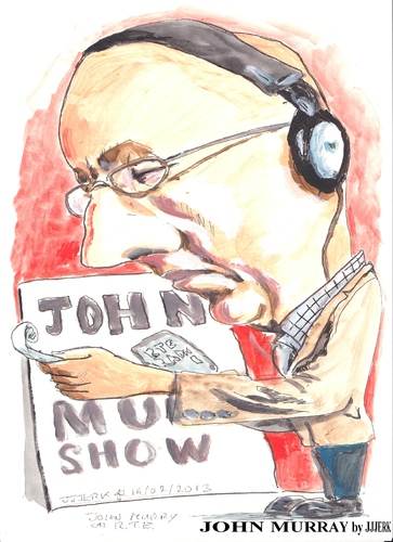 Cartoon: John Murray (medium) by jjjerk tagged john,murray,cartoon,rte,caricature,irish,ireland,glasses,red
