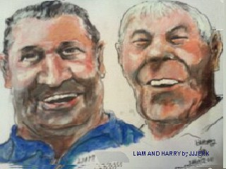 Cartoon: Liam and Harry (medium) by jjjerk tagged liam,harry,cartoon,caricature,coolock,library,art,group,artist,painter,irish,blue,ireland