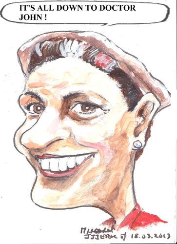 Cartoon: Margaret (medium) by jjjerk tagged margaret,red,cartoon,caricature,curlers,earring,play
