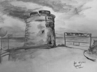 Cartoon: Martello Tower Donabate (medium) by jjjerk tagged martello,tower,cartoon,caricature,drawing,draw,me,seaside,irish,ireland