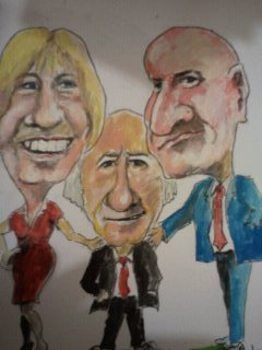 Cartoon: Mary Michael and Sean (medium) by jjjerk tagged president,ireland,irish,three,people,red,tie,higgins,galagher,cartoon,caricature,famous,mary,davis,michael,sean