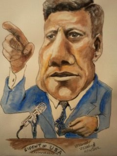 Cartoon: President John F kennedy (medium) by jjjerk tagged president,john,kennedy,america,usa,microphone,blue,tie,cartoon,caricature,portrait,assassination,dallas,politition,world,leader,statesman