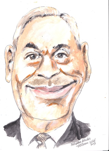 Cartoon: Richard Bruton (medium) by jjjerk tagged richaed,bruton,ireland,fine,gael,politician,irish,tie