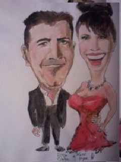 Cartoon: Simon Cowell and Katie Piper (medium) by jjjerk tagged katie,piper,simon,cowell,csinger,actor,cartoon,caricature,red,factor