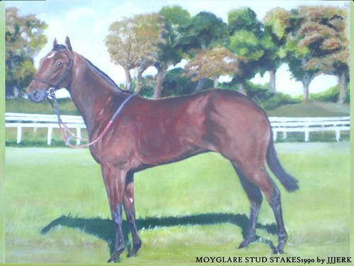 Cartoon: The Moyglare Stud Stakes 1990 (medium) by jjjerk tagged capricciosa,horse,race,green,cartoon,caricature,kildare,ireland