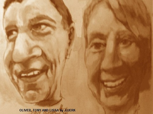 Cartoon: Tony and Lissa Oliver (medium) by jjjerk tagged lissa,oliver,writer,sports,journalist,cartoon,caricature,racing,magazine,ireland,england,irish,writers,union
