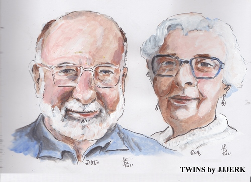 Cartoon: Twins (medium) by jjjerk tagged twins,cartoon,caricature,glasses,beard,blue,earrings,ireland,iirish