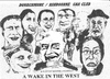 Cartoon: A Wake in the West (small) by jjjerk tagged wake in the west michael ginnelly cartoon caricature play irish ireland
