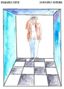 Cartoon: Perspective 6 (small) by jjjerk tagged perspective,cartoon,caricature,ireland,irish,brown,squares,lines
