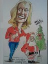 Cartoon: Santa Claus and Linda Hayden (small) by jjjerk tagged linda,hayden,bell,center,santa,claus,cartoon,caricature,tree,ireland,irish,red,boots,darndale