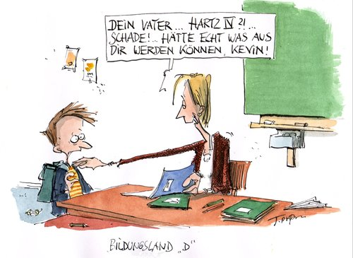 Cartoon: no title (medium) by plassmann tagged schule,bildung,hartz4